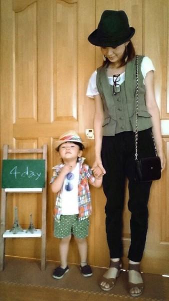 mama  tops/GU best/SLY(古着)サンダル/GU   帽子/south kids   tops/西松屋 チェックシャツ/西松屋 bottom /BREEZE    帽子/Right-on