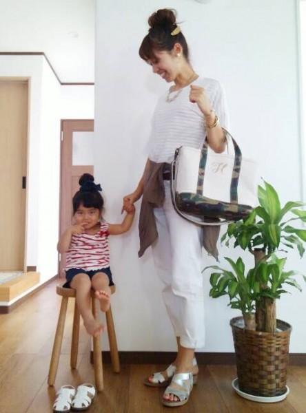 6day mama  Tシャツ→sense of place by urban research パンツ→ユニクロ シャツ→大阪のルクアにあるお店(名前忘れた~) ※ピアス→ハンドメイド kids タンク→西松屋 パンツ→西松屋 サンダル→西松屋